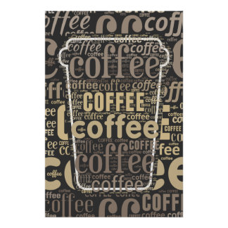 Coffee Lovers Traveling Cup Word Art Poster