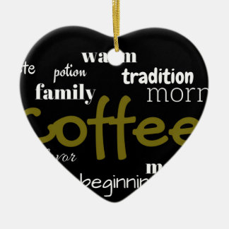 Coffee Lovers Typography  On Black Background Ceramic Ornament