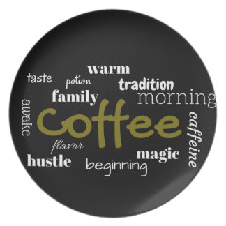 Coffee Lovers Typography  On Black Background Dinner Plate