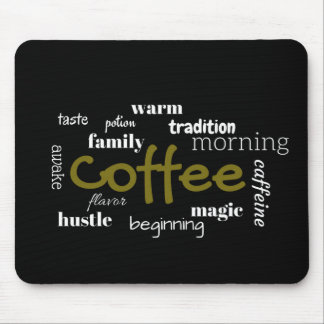 Coffee Lovers Typography  On Black Background Mouse Pad