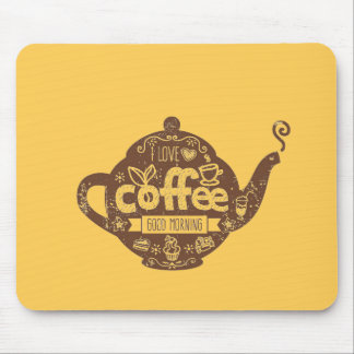 Coffee lovers vintage retro cafe art I love coffee Mouse Pad