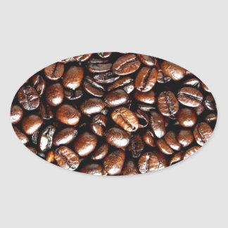 Coffee Lovers Whole Bean Collage Oval Stickers
