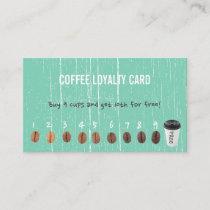 Coffee Loyalty Cards Vintage Green Wood