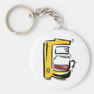Coffee Maker Basic Round Button Keychain