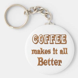 Coffee Makes It Better Basic Round Button Keychain
