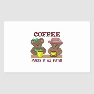 COFFEE MAKES IT BETTER RECTANGLE STICKERS