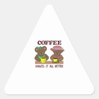 COFFEE MAKES IT BETTER TRIANGLE STICKER