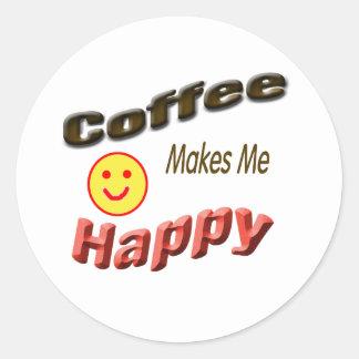 coffee makes me happy classic round sticker