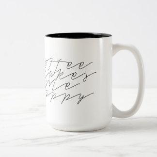 Coffee Makes Me Happy   Urban Chic   Cursive Mug