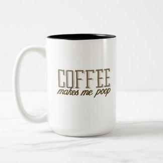 Coffee makes me poop Two-Tone coffee mug