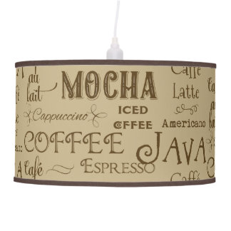 Coffee Mocha Espresso Cafe Latte Drink Names Ceiling Lamp