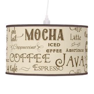 Coffee Mocha Espresso Cafe Latte Drink Names Hanging Pendant Lamps