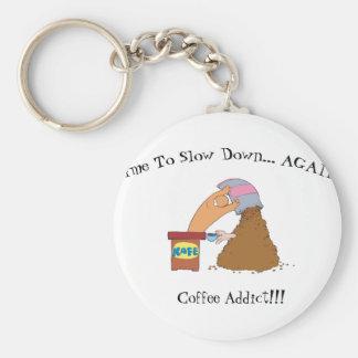 Coffee Monster Basic Round Button Keychain