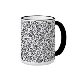 coffee mug black and white swirls