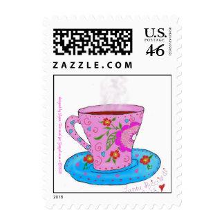 Coffee Mug Blue Flower Stamps
