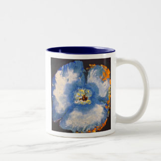 Coffee Mug, Blue-Gold Fire Poppy with Poem Two-Tone Coffee Mug