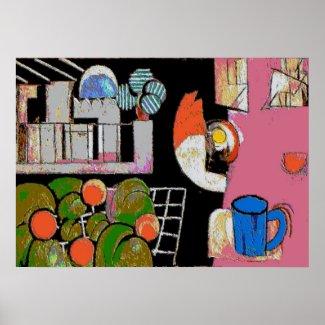 Coffee Mug Blue, Matisse Style print