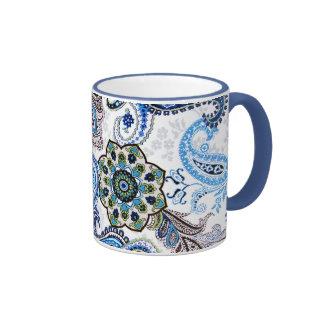 coffee mug blue paisley