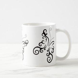 COFFEE MUG BUTTERFLY TATTOO SWIRL DESIGN