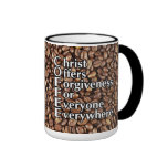 "Coffee Mug""Christ Offers Forgiveness"" Reverse Ringer Coffee Mug"