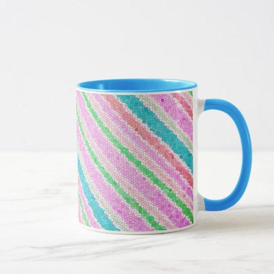 coffee mug cup pastel mosaic stripes