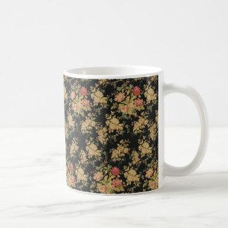 COFFEE MUG ELEGANT GOLDEN FLORAL DESIGN PATTERN