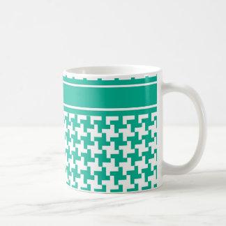 Coffee Mug, Emerald Green Dogtooth Check Coffee Mug