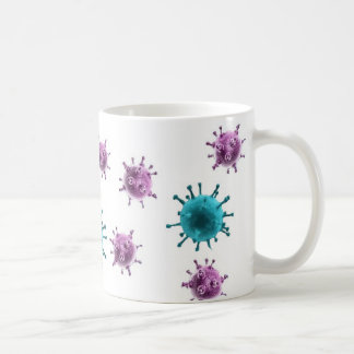 Coffee Mug - Flu Virus (purple/blue on white)