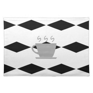 Coffee Themed Coffee mug - geometric pattern . cloth placemat