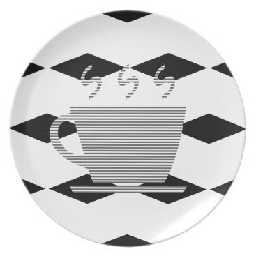 Coffee Themed Coffee mug - geometric pattern . melamine plate