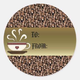Coffee Mug Gift Tag Classic Round Sticker