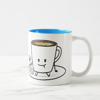 Coffee mug latte coffee eating sugar cubes cream