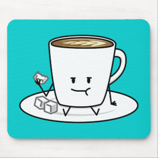 Coffee mug latte coffee eating sugar cubes cream mouse pad