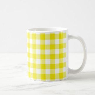 Coffee Mug Lemon Yellow Check Gingham
