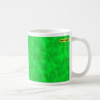 Coffee mug lime green digital art design bragstore