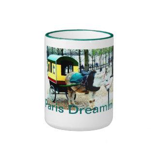 "Coffee Mug ""Paris Dreaming"" Donkey Cart"