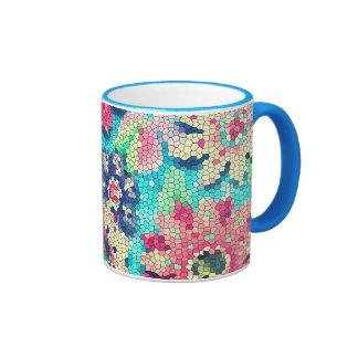 coffee mug retro flower mosaic