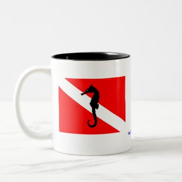 Coffee Themed coffee mug - seahorse dive flag