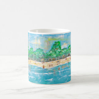 coffee mug showing beach scene
