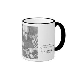 Coffee Mug, skeleton on bike chasing a dragonfly Ringer Mug