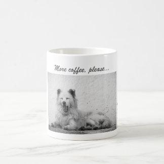 Coffee Mug - Sleepy White Dog on Santorini, Greece