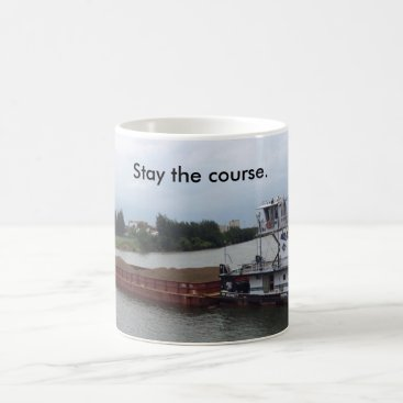 Coffee Themed Coffee mug w/ boat & barge--stay the course.