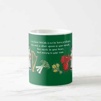 Coffee Mug: Welsh Emblems and Quote