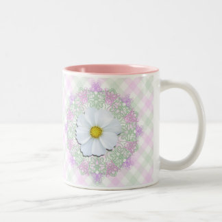 Coffee Mug - White Cosmos on Lace & Lattice