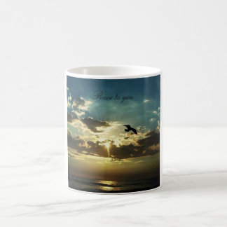 coffee mug with a ocean sunset image