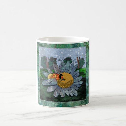 Coffee Mug With Bee And Flower