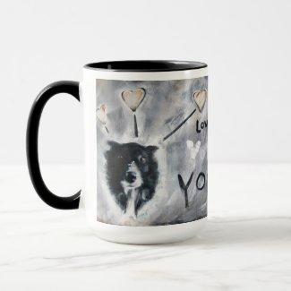 Coffee mug with border collie painting mug