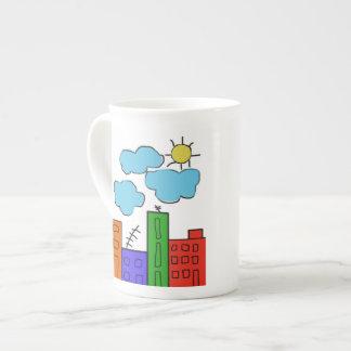 coffee mug with colorful houses bone china mug