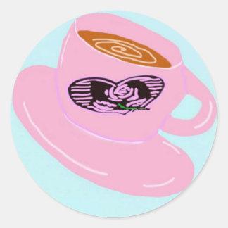 Coffee Mug With Heart Classic Round Sticker