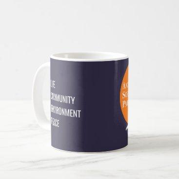 Coffee Themed Coffee Mug with Orange & White ASP Logo